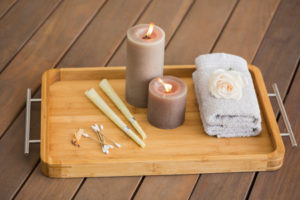 28985396 - tray of ear candling equipment at the spa
